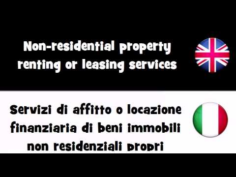 VOCABULARY IN 20 LANGUAGES = Non residential property renting or leasing services