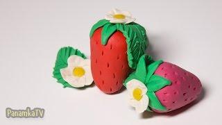 как слепить клубнику из пластилина Плей До своими руками  How to make a strawberry of Play Doh clay