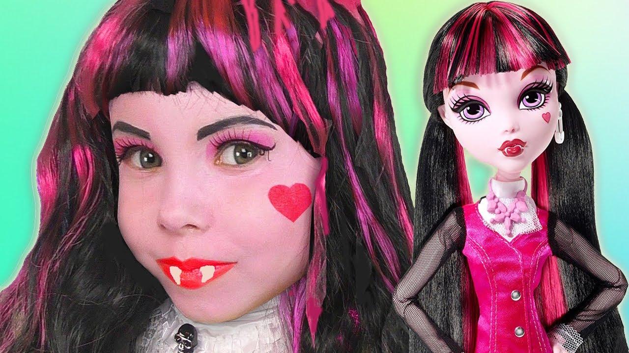 Kids makeup magic transform into draculaura doll costume cosplay kids makeup magic transform into draculaura doll costume cosplay tutorial colors paints for kids baditri Gallery