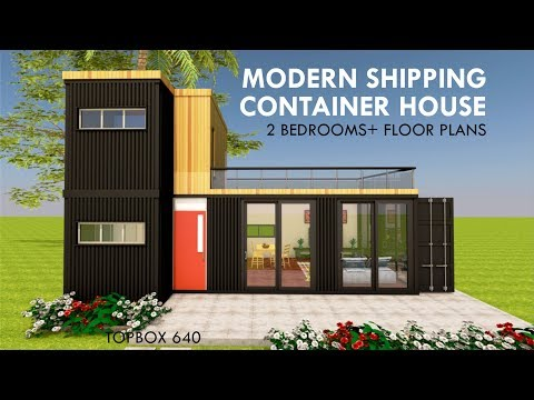 Modular Shipping Container 2 Bedroom Prefab Home Design with Floor Plans| TOPBOX 640
