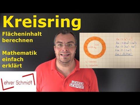 Kreisring berechnen - Flächeninhalt berechnen | Mathematik - einfach erklärt! | Lehrerschmidt from YouTube · Duration:  3 minutes 38 seconds
