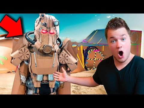 REAL LIFE FALLOUT 76 POWER ARMOR!! 📦 24 Hour Box Fort Challenge & NERF BATTLE!