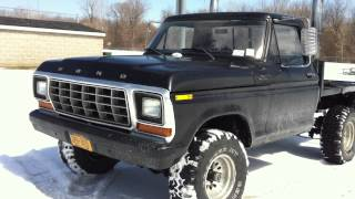 Walkaround, Short Drift And Driving In My 1978 Ford F150 Flatbed 351m 4x4