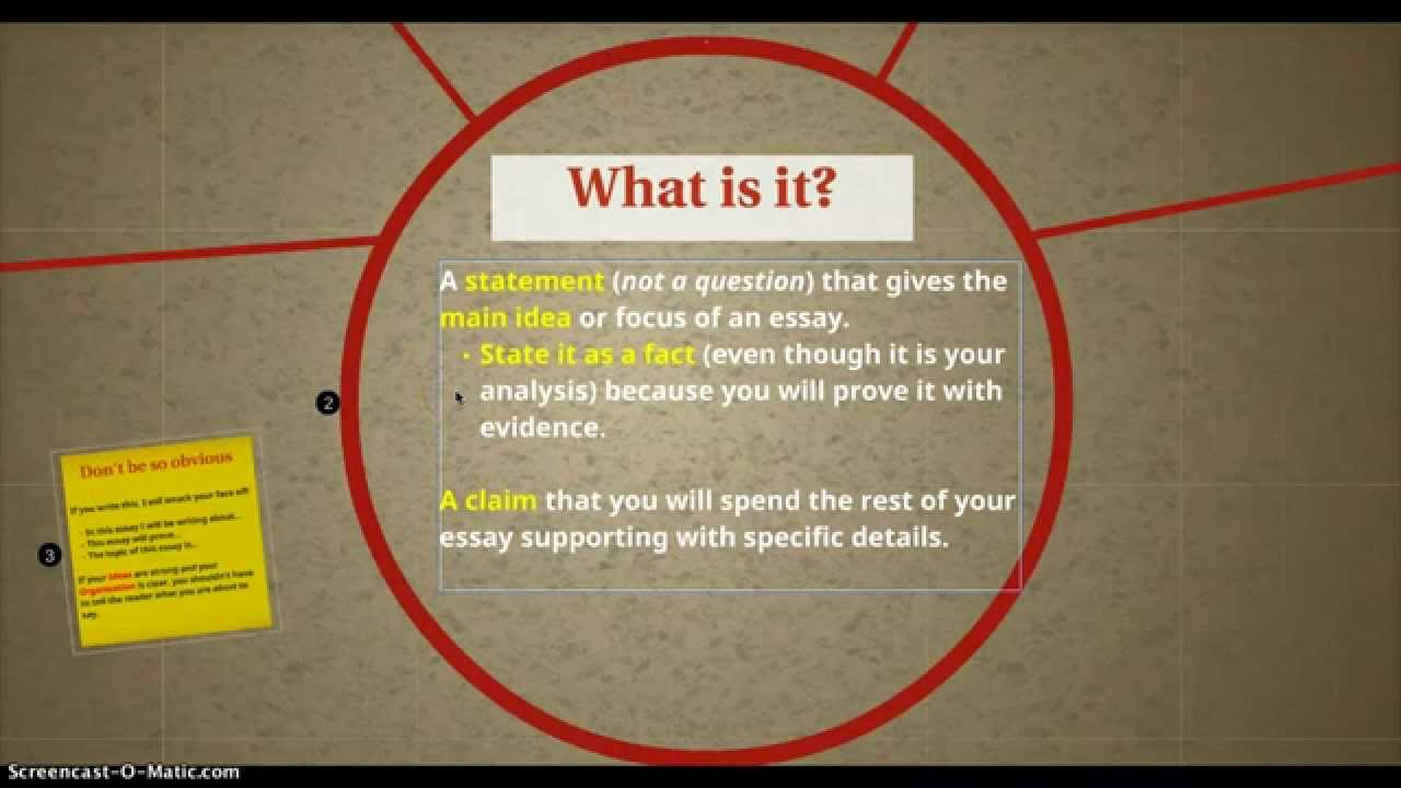 how to write a thesis statement for an analytical essay  youtube  interesting persuasive essay topics for high school students also proposal essay examples example of a thesis statement in an essay