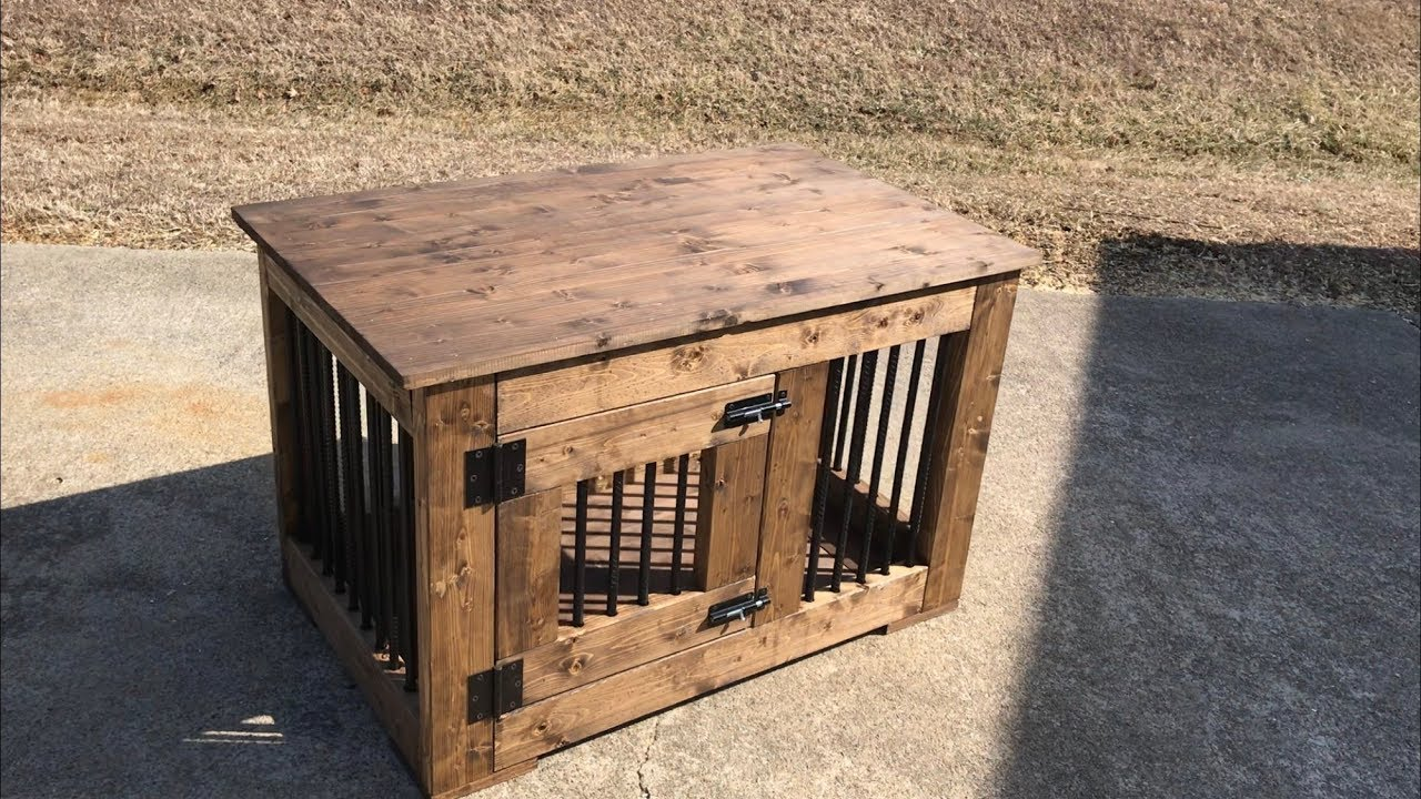 how to build a dog crate made with 2x4s and rebar - Wooden Dog Crate End Tables