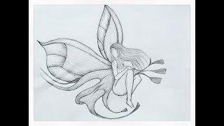 Drawing broken heart Lonely Angel pencildrawing