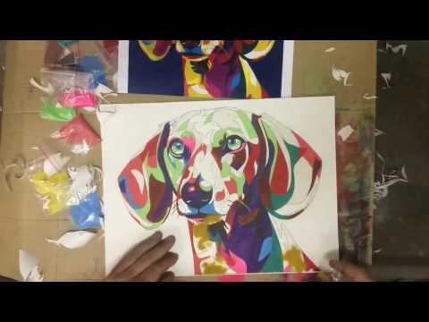 Картина цветным песком Радужная собака