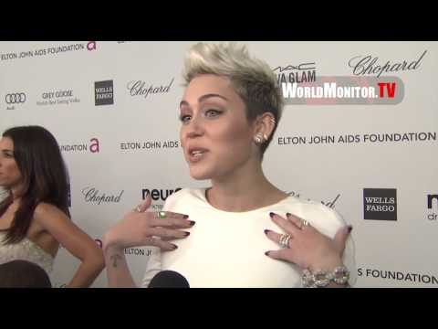 Miley Cyrus, Nicki Minaj at Elton John AIDS Foundation Academy Awards Viewing Party