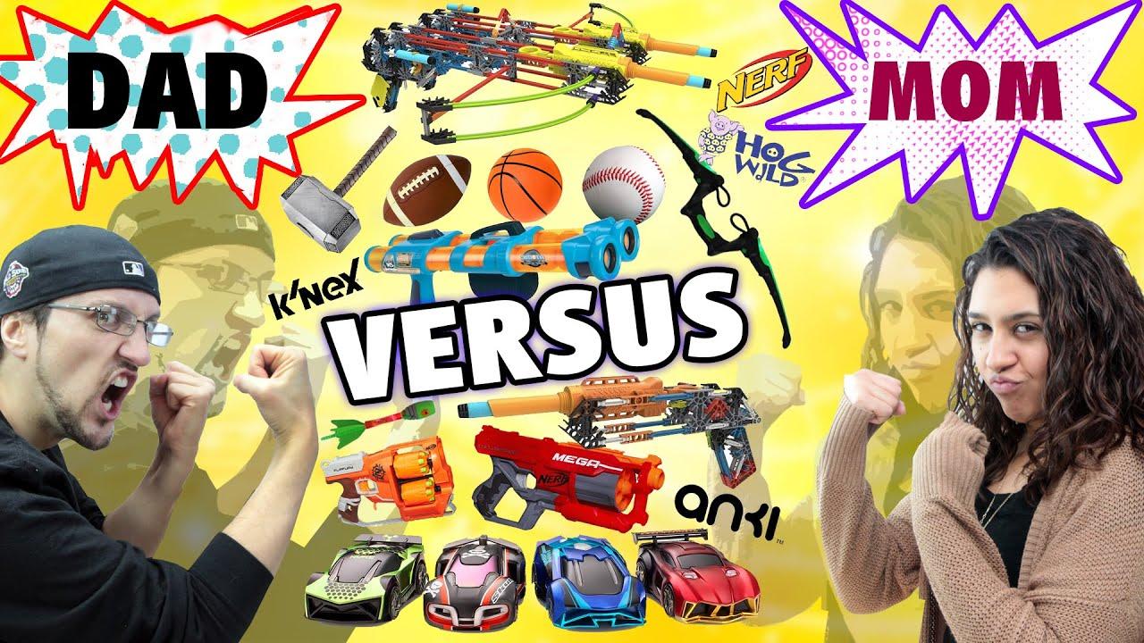Mom vs. Dad! The Ultimate Toys/Game Battle Challenge! NERF, ANKI Overdrive, K'Nex, Avengers + more - Mom vs. Dad! The Ultimate Toys/Game Battle Challenge! NERF, ANKI Overdrive, K'Nex, Avengers + more