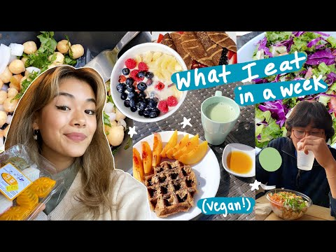 EVERYTHING i eat in a week as a vegan college student (online school) !! 🥞