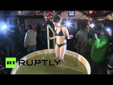 Russia: Moscow's young and beautiful take nippy Epiphany dip