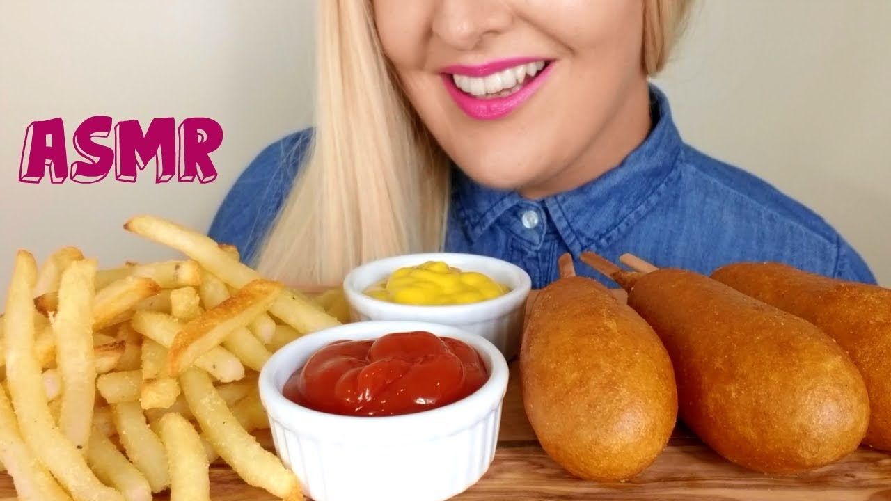 Crispy Corn Dogs And French Fries Asmr Eating Sounds No Talking