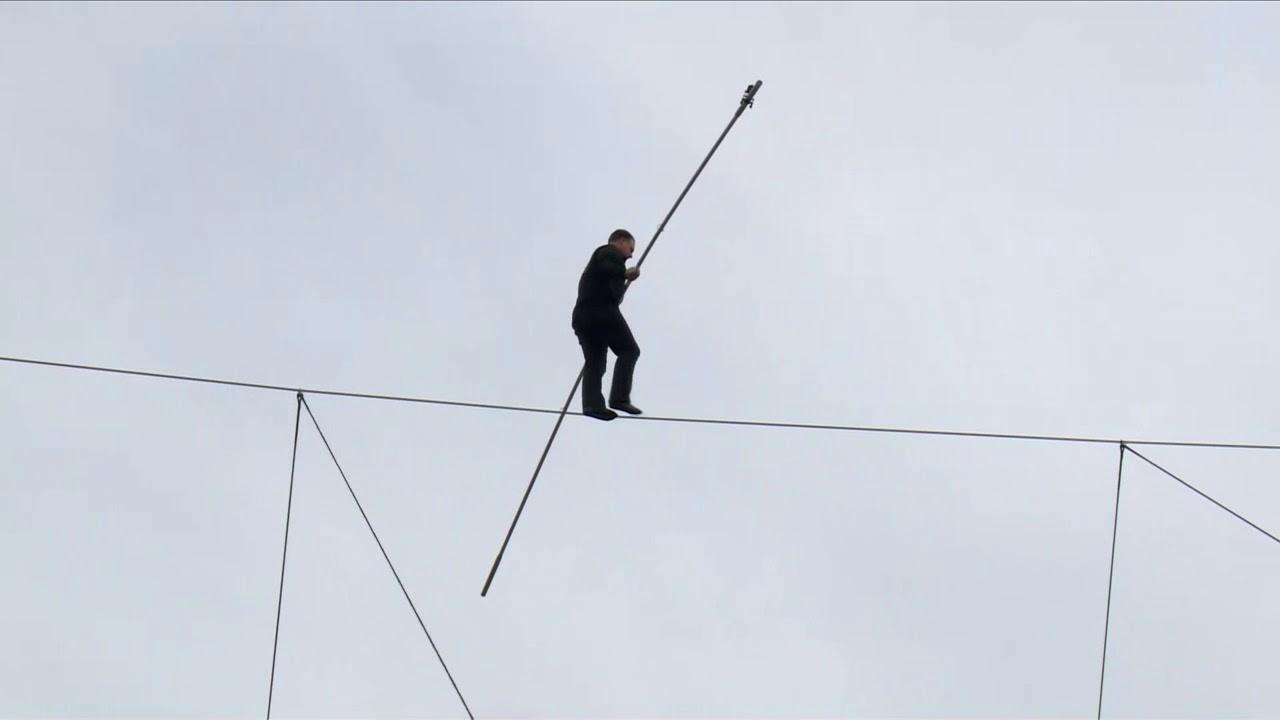Rope-walker over the Neva