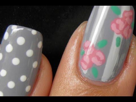 Vintage rose and polka dots nail art tutorial