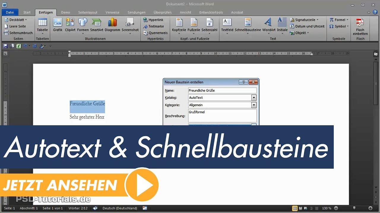 Microsoft Word Tutorial: Autotext und Schnellbausteine - YouTube