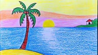 Vẽ Tranh Phong Cảnh Biển Vời Màu Sáp | How to draw simple scenery with crayon