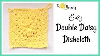 Easy Double Daisy Dishcloth