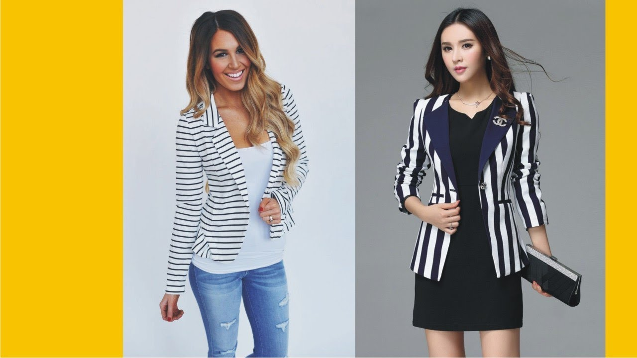 Womens white striped fall blazer think
