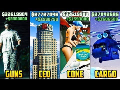 GTA 5 Online - TOP 5 BEST BUSINESSES TO BUY & MAKE MONEY (I/E vs CEO vs MC vs Guns)