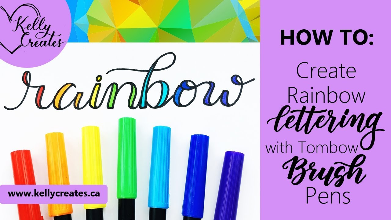 learn rainbow lettering with tombow pens youtube