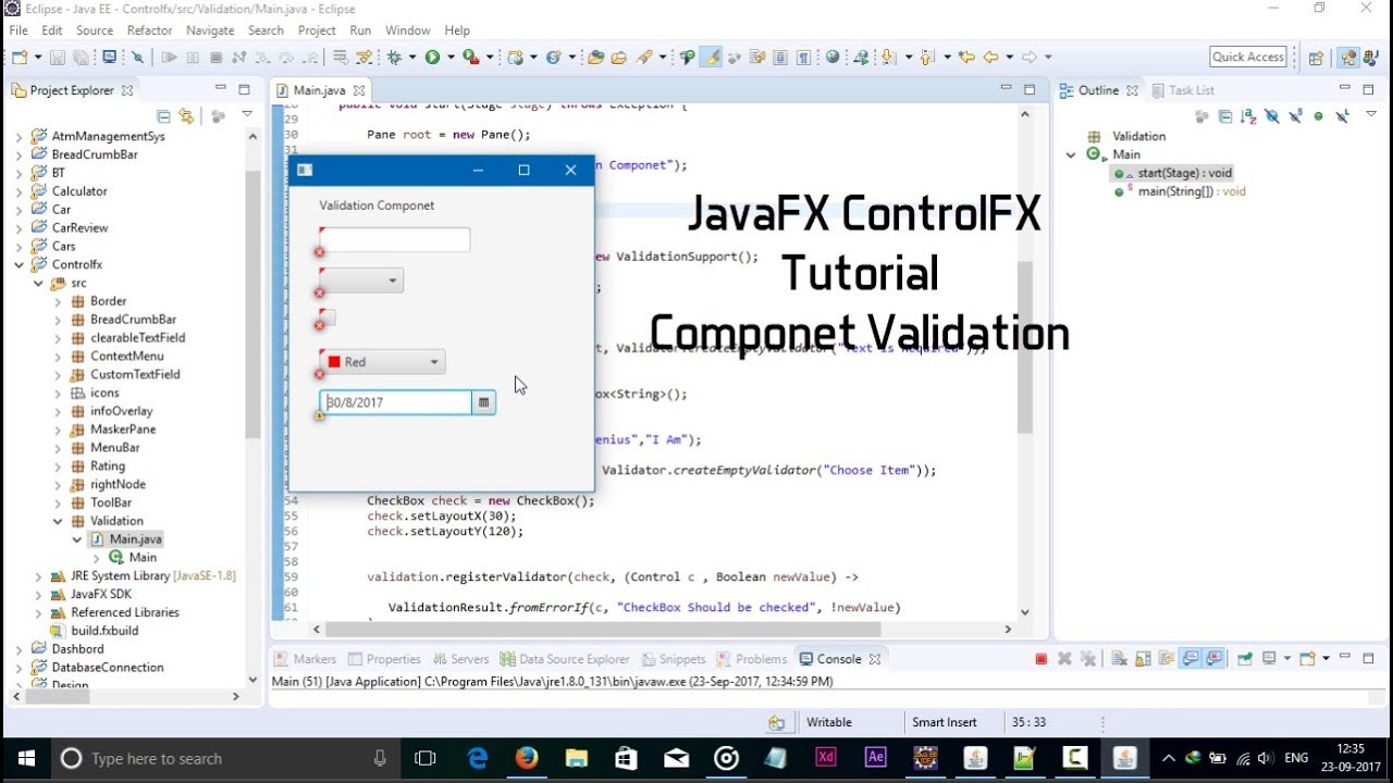 JavaFX ControlsFx Tutorial Component Validation
