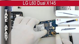 How to disassemble 📱 LG L60 Dual X145, Take apart, Tutorial