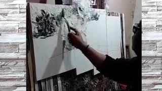 Lukisan Kaligrafi Abstrak Bunga SS445566