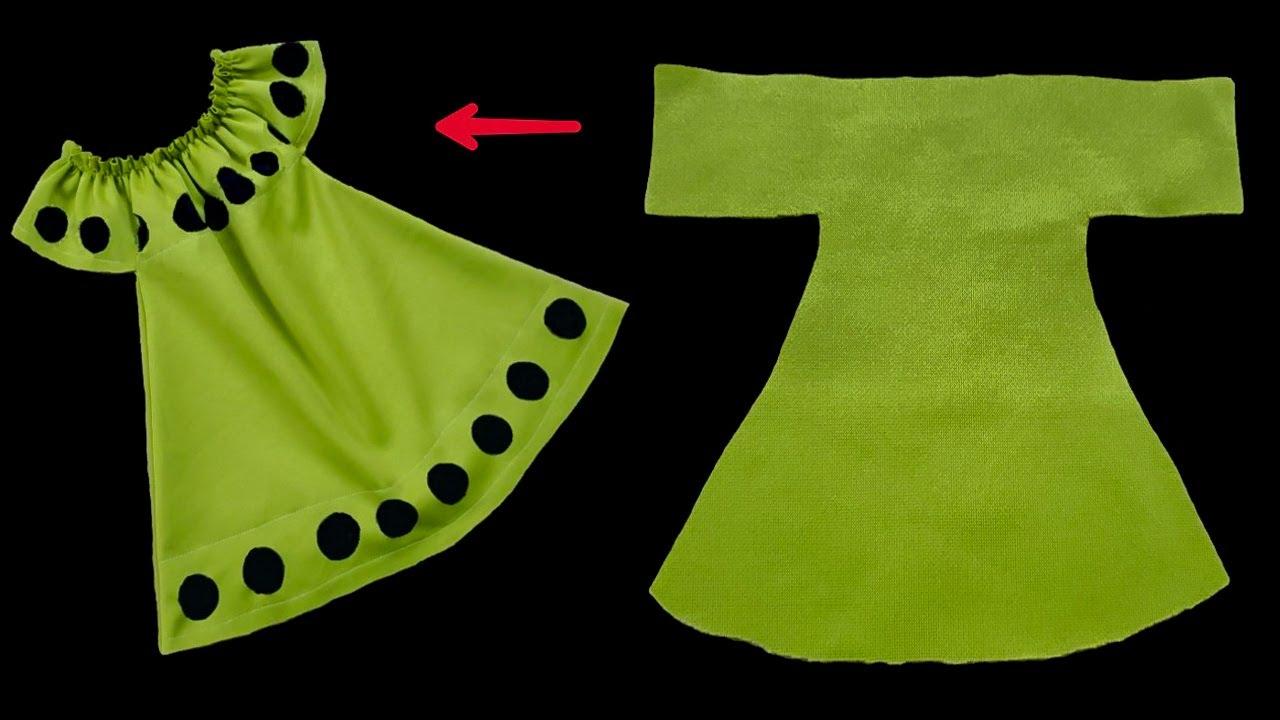 خياطة فستان و بطريقة قص بسيطة جدآ / أحدث خياطة فستان طفلة بكل بساطة