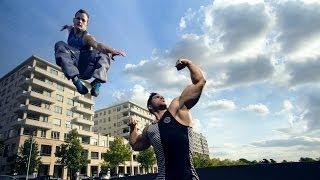 Bodybuilder Meets Parkour / Freerunning (eng sub)