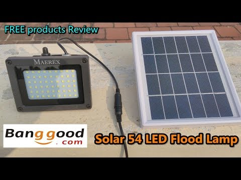 Banggood - Solar Powered 54 LED Sensor Flood Light Waterproof Outdoor Lamp / Free product review