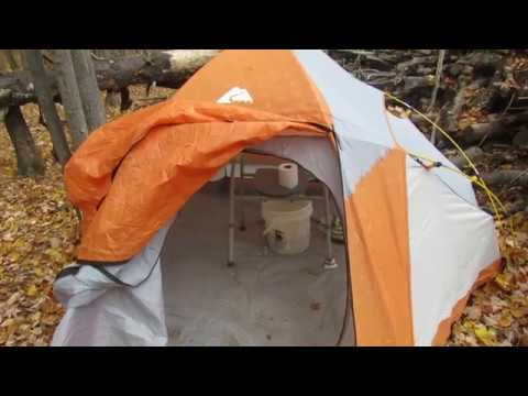 Camping Composting Toilet : Easy composting camping outhouse toilet using tent and potty chair