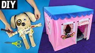 DIY para Crianças 🏠🐶 Casa de Pano, Cachorrinho e Caixote de papelão
