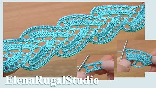 Repeat youtube video Stripy Lace to Crochet Tutorial 1 Part 2 of 2 Crochet Tape Lace