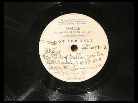 """Richard Strauss, """"Der Rosenkavalier Waltz Suite 1""""Op.59, LPO Karl Rankl, Decca, AR 10791 2, c1946"""