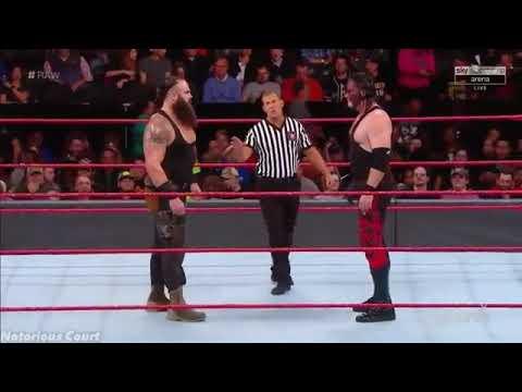 WWE RAW- Braun Stroman VS Kane -Braun dives Kane into the ring