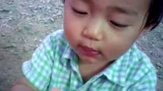 晴太郎1歳8ヶ月。なぜかペットボトルのキャップで、ちびりちびりと飲む...