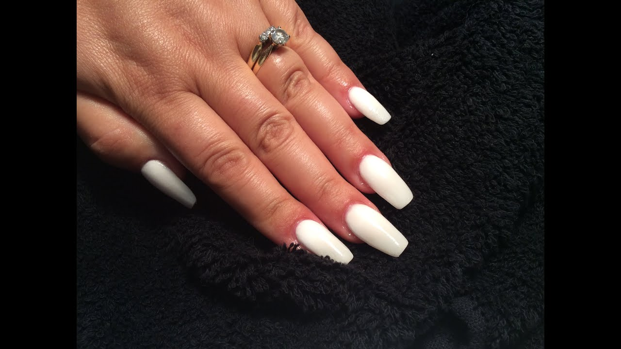 White Acrylic Nails | NAILSJAMIEBE - YouTube