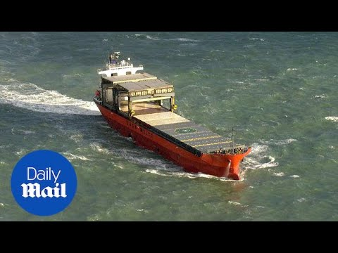 Cargo vessel stranded in English Channel after colliding with barge - Daily Mail