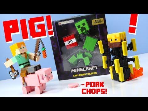 Minecraft Survival Mode Toys Spinning Blaze & Saddled Pig Mattel