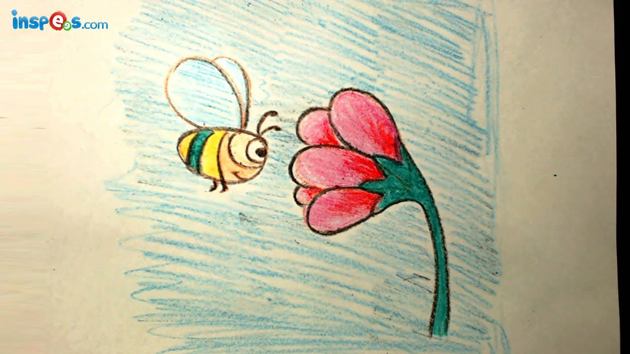 how to draw bee with flower youtube