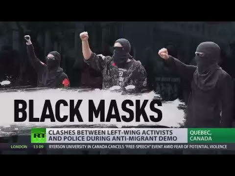 Canada Clashes: Left-wing activists brawl with police during anti-immigrant demo in Quebec