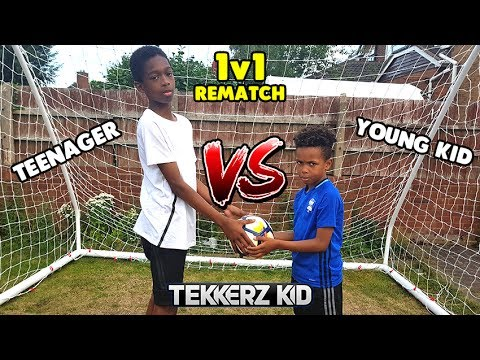 The Rematch! | KID vs TEENAGER 1v1 Football Challenge!! Who