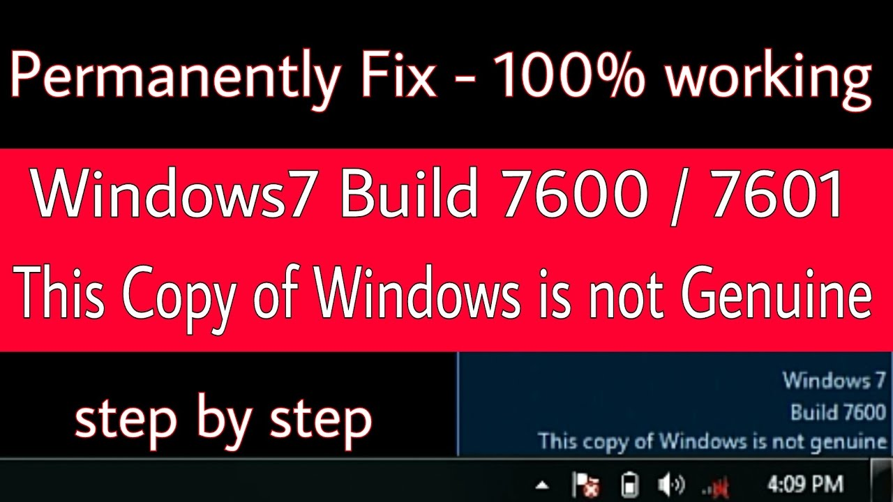 build 7601 this copy is not genuine
