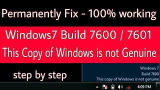 windows 7 build 7600 7601 this copy of windows is not genuine permanently fix 100 working