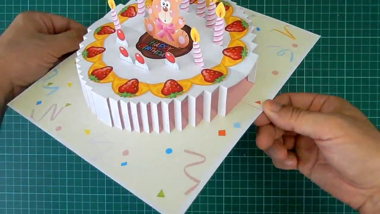 Birthday Cake Pop Up Card Tutorial YouTube – Pop Up Birthday Cake Card Template