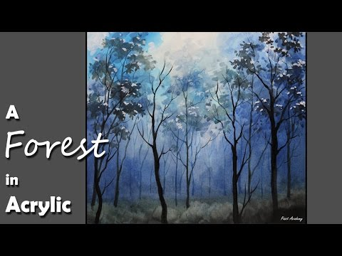Acrylic Painting | Snowy Winter Forest Night