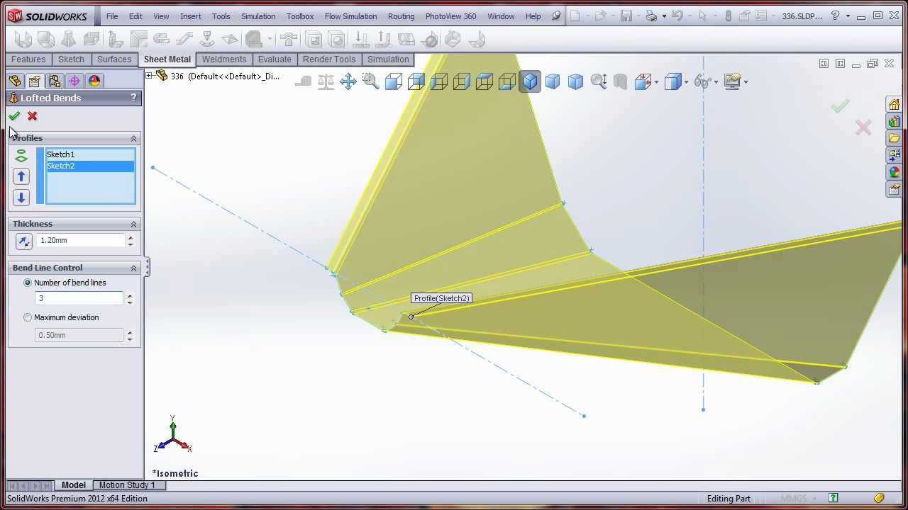 how to show bend lines in solidworks drawing