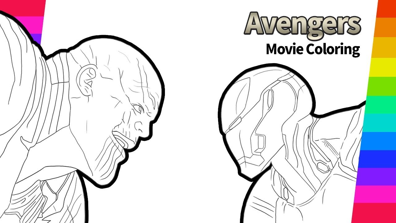 Thanos And Iron Man Drawing Avengers Infinity War Movie Coloring Page Youtube