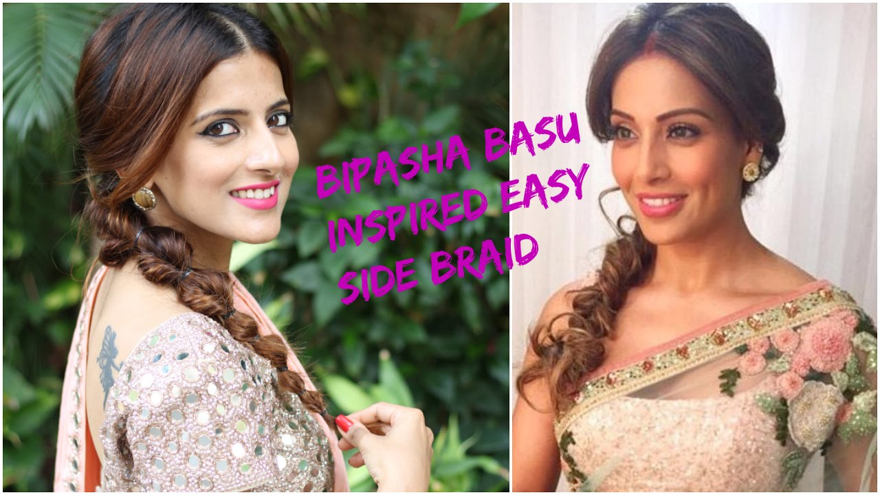 indian hairstyles for saree for medium to long hair / prom/ party / wedding  hairstyles- bipasha basu