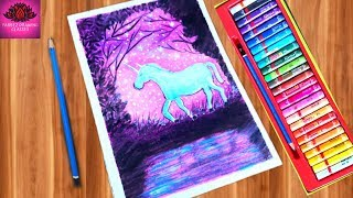 Cute Unicorn Moonlight scenery drawing with oil Pastels - step by step